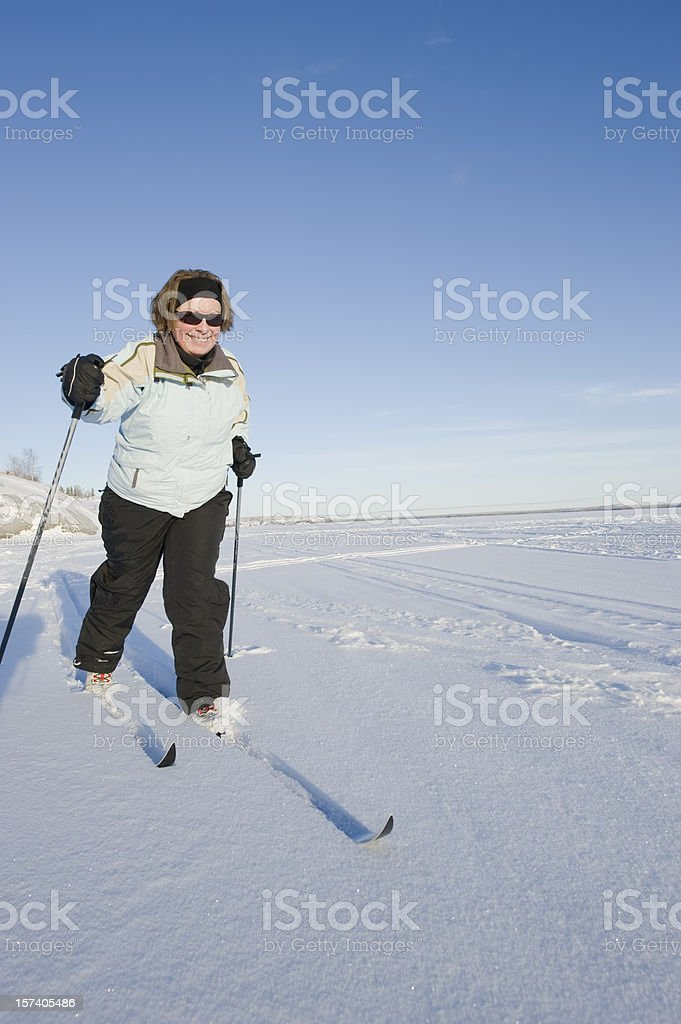 Cross Country Skiing near Yellowknife, Great Slave Lake. royalty-free stock photo