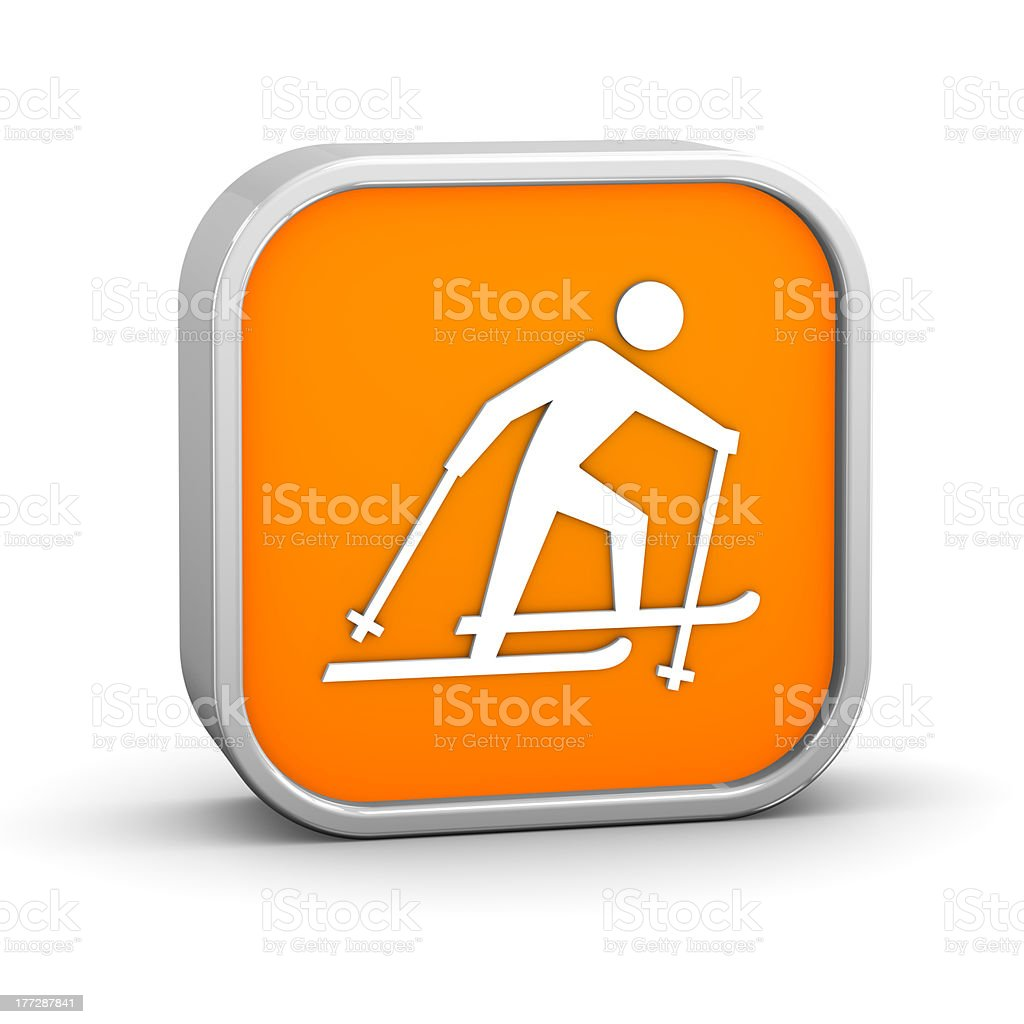 Cross country skiing sign stock photo