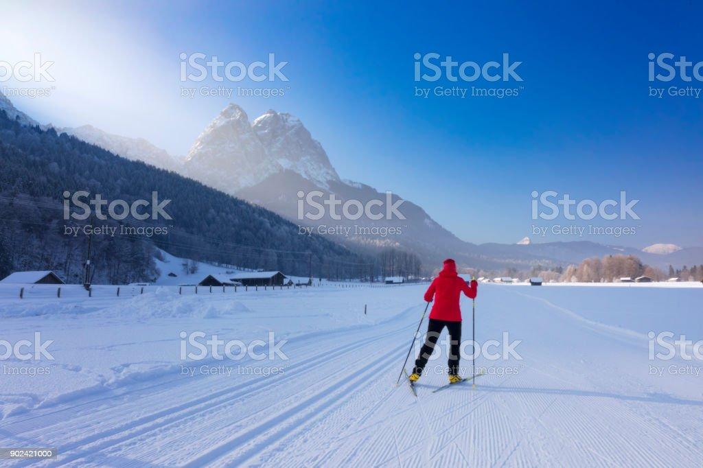 Cross Country Skiing towards Mount Zugspitze stock photo