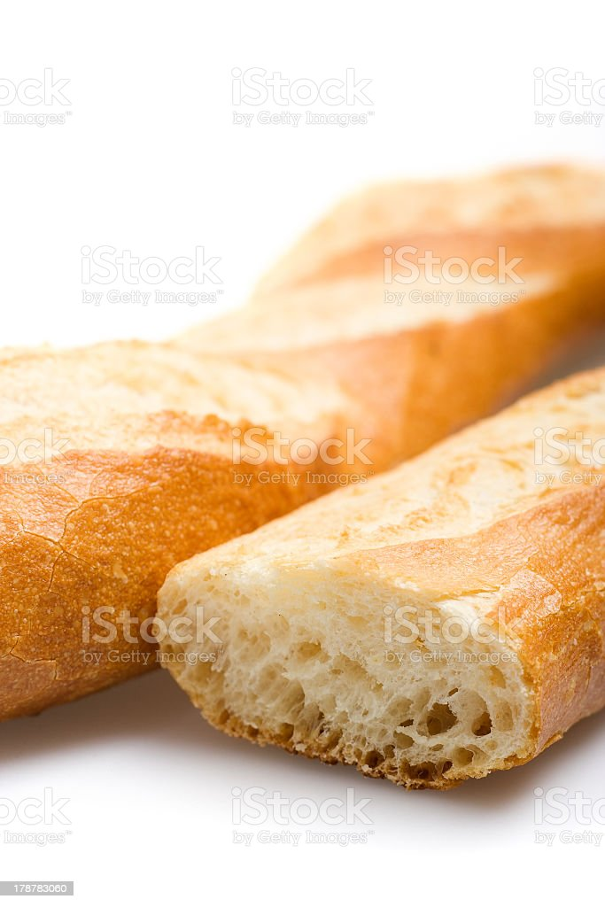 Cross cut section of a fresh baked French baguette royalty-free stock photo