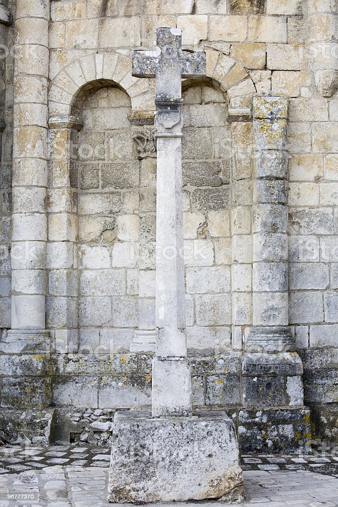 Cross dated 1643, in Chauvigny, France royalty-free stock photo