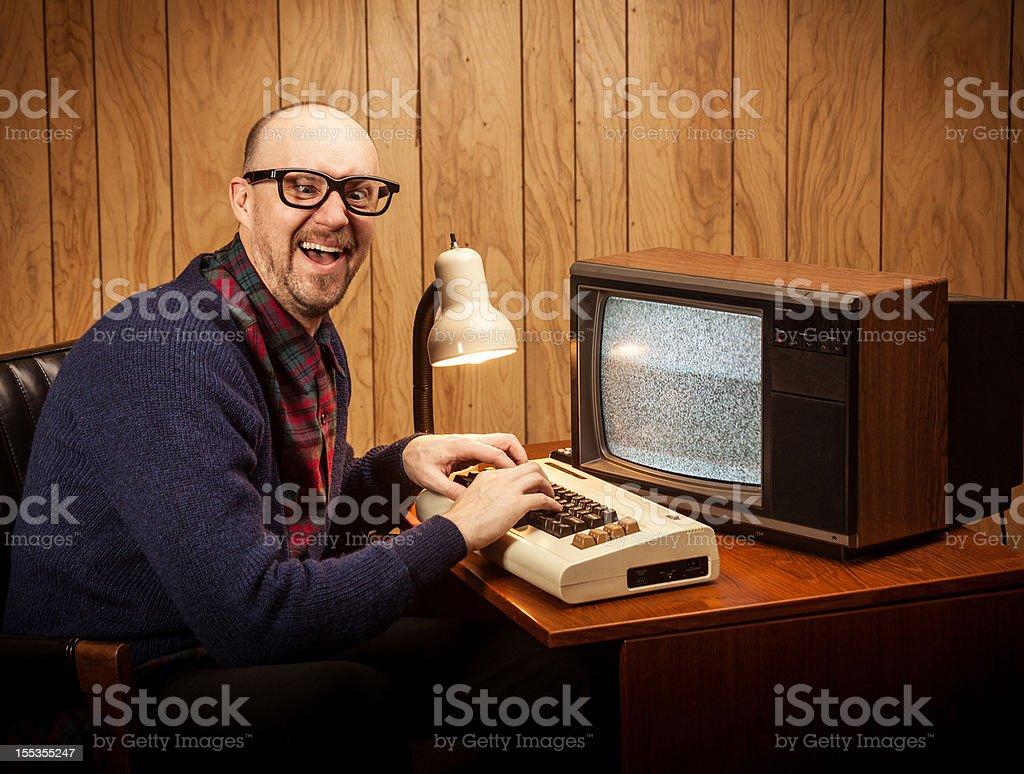 Cross eyed Geeky Nerd Computer Science work man vintage style royalty-free stock photo