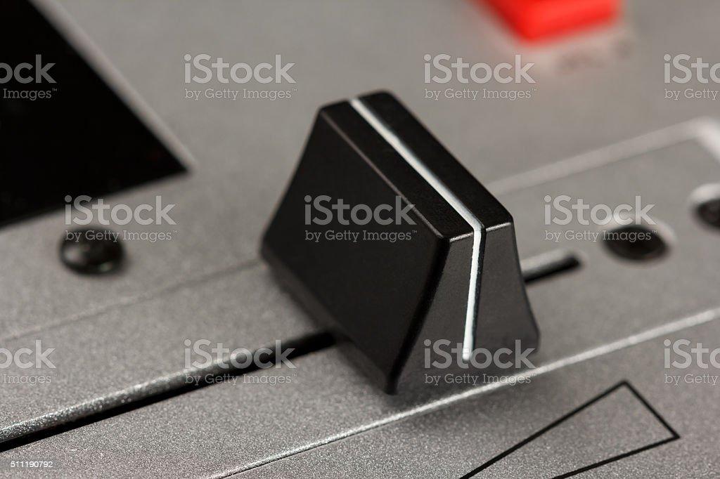 Cross fader of a DJ mixer stock photo