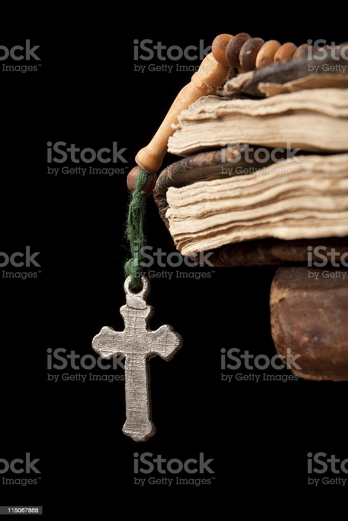 Cross, Holy Book and Rosary stock photo