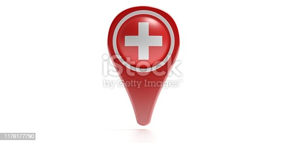 istock Cross icon on a red color map pointer isolated against white background. 3d illustration 1176177790