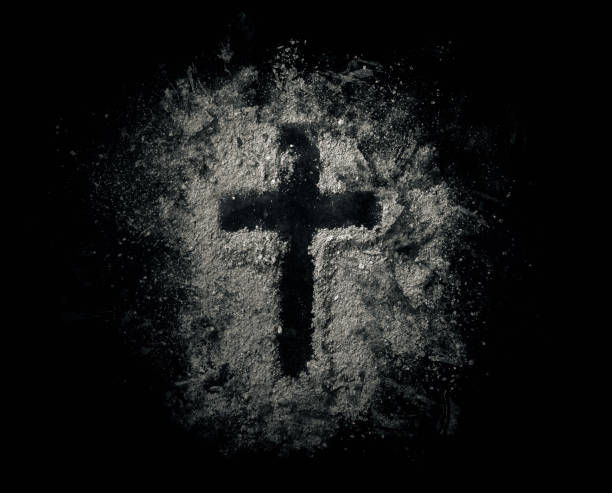 cross in ashes - ash cross stock photos and pictures