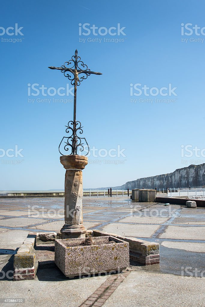 Cross in front of the sea, Saint Valery en Caux stock photo