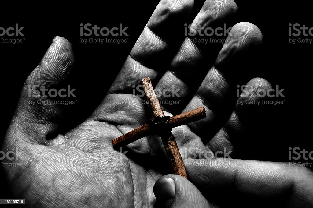 Cross in Hand royalty-free stock photo