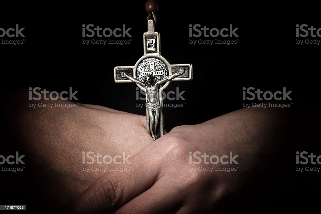 Cross in Hands royalty-free stock photo