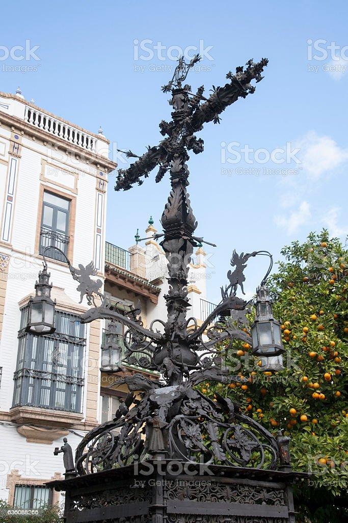 Cross In Plaza Santa Cruz Square Seville Stock Photo More Pictures