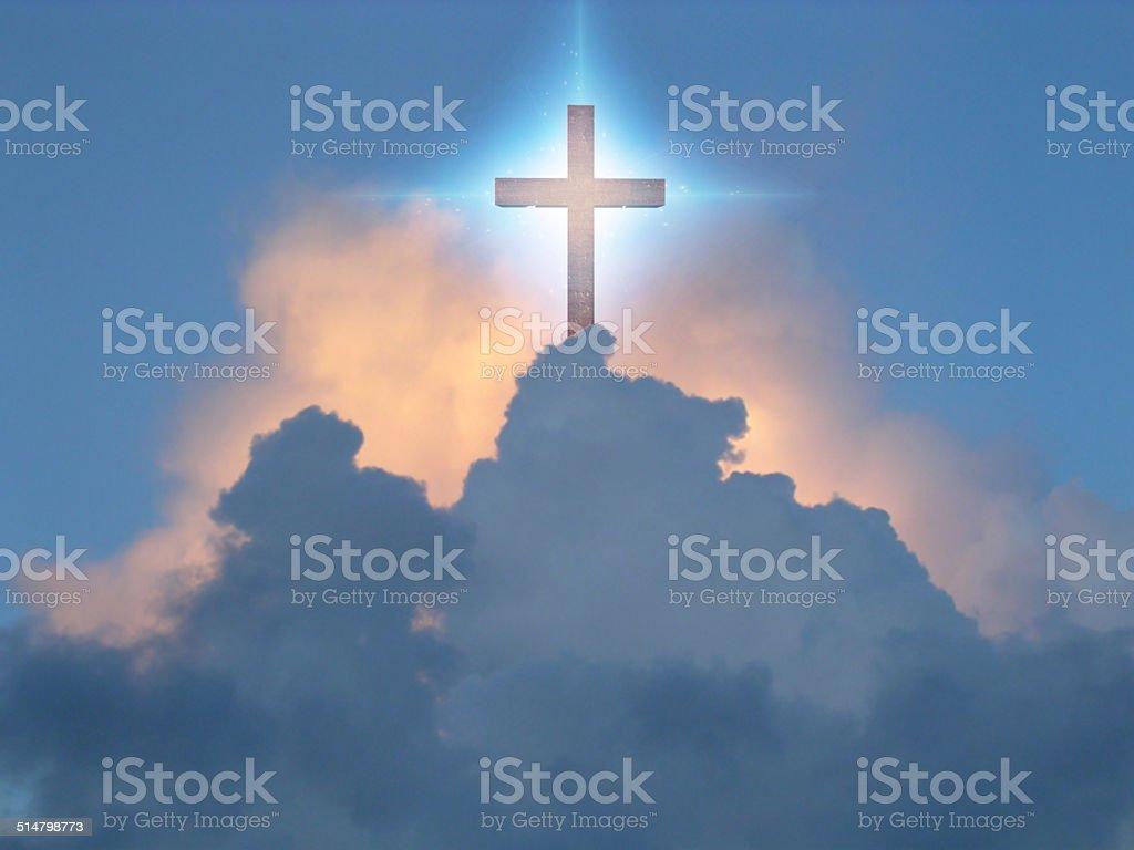 Cross in Sky stock photo