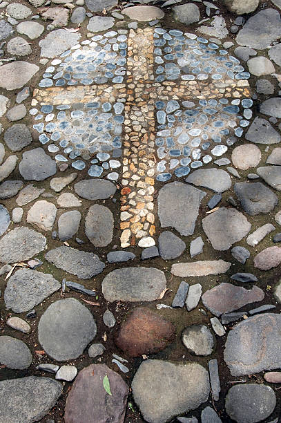 Cross in Stone stock photo