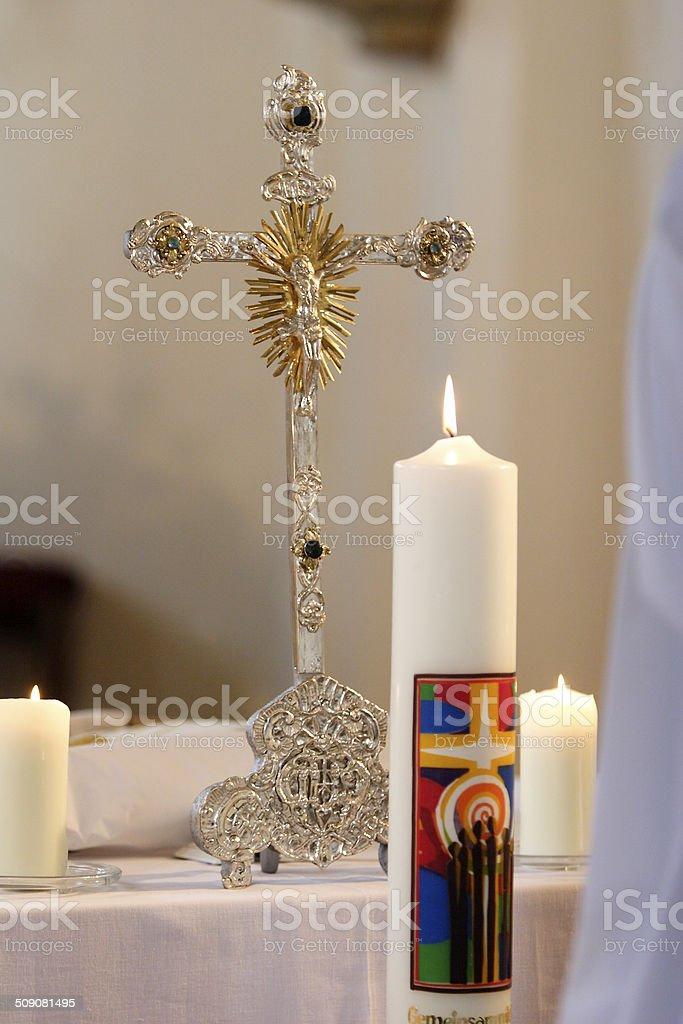 Cross in the church stock photo