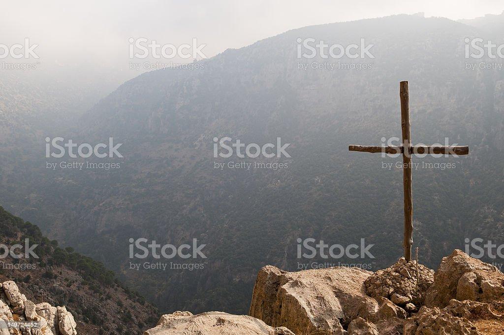 Cross in the Middle East (Qadisha Valley, Lebanon) royalty-free stock photo