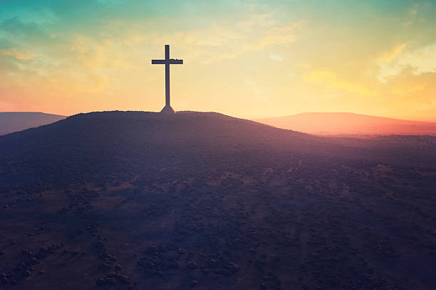 cross in the middle of a desert - christianity stock photos and pictures