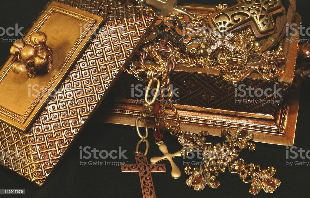 Cross Jewelry in Gold Box royalty-free stock photo