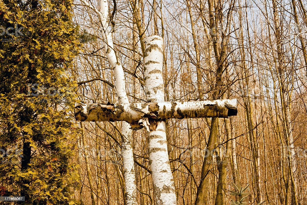 Cross made of birch-tree royalty-free stock photo