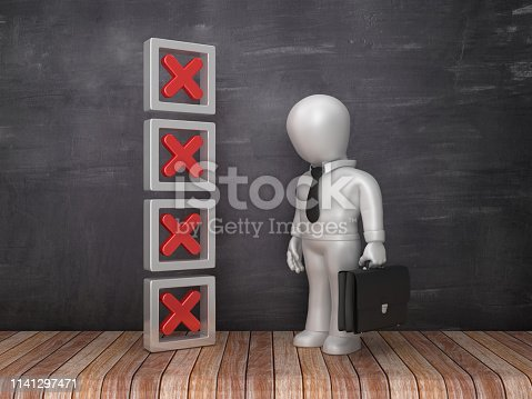 istock 3D Cross Mark List with Business Character on Chalkboard Background - 3D Rendering 1141297471
