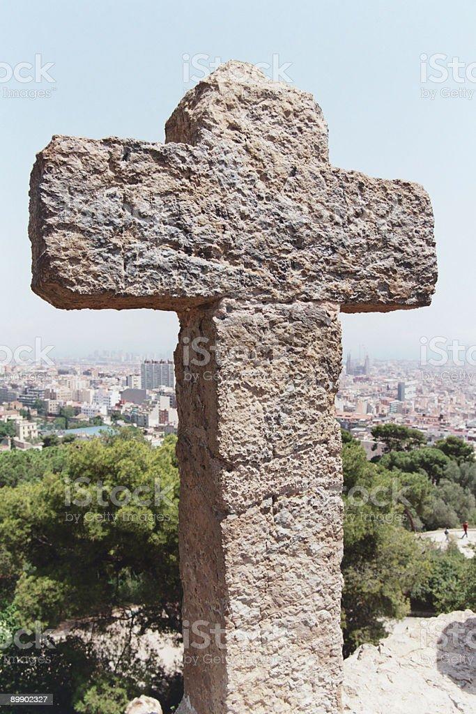 Cross monument - Barcelona, Spain royalty-free stock photo