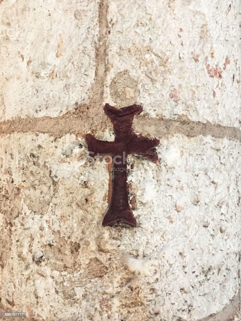 Cross of Christ with stone texture stock photo