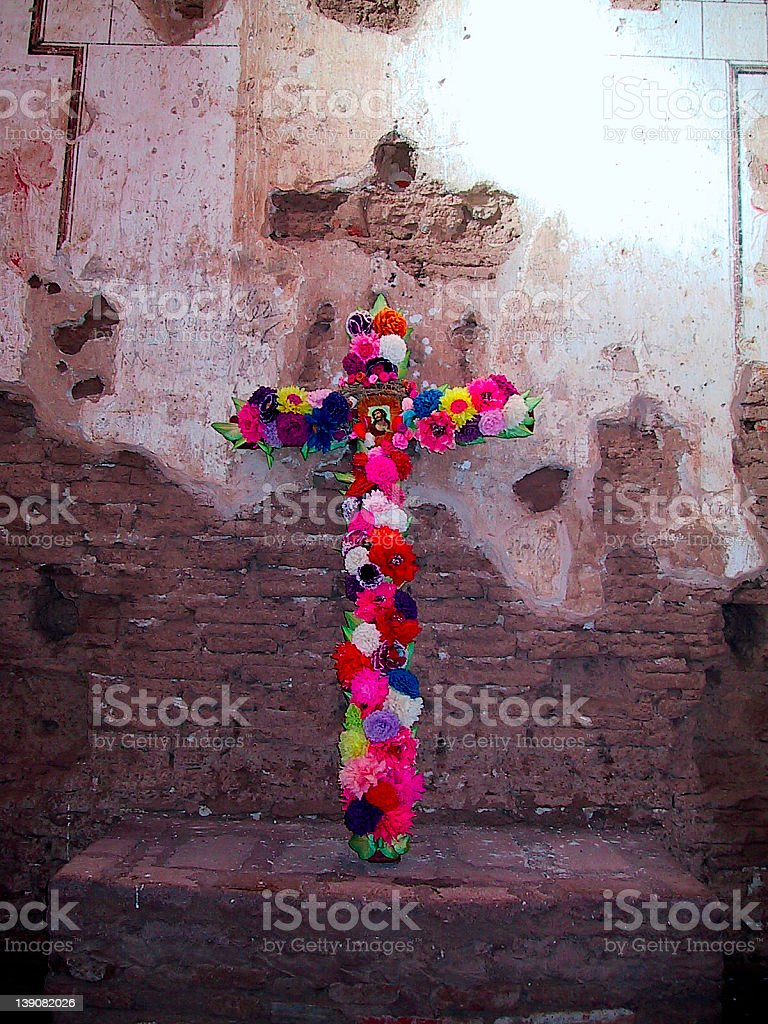 Cross of Flowers royalty-free stock photo