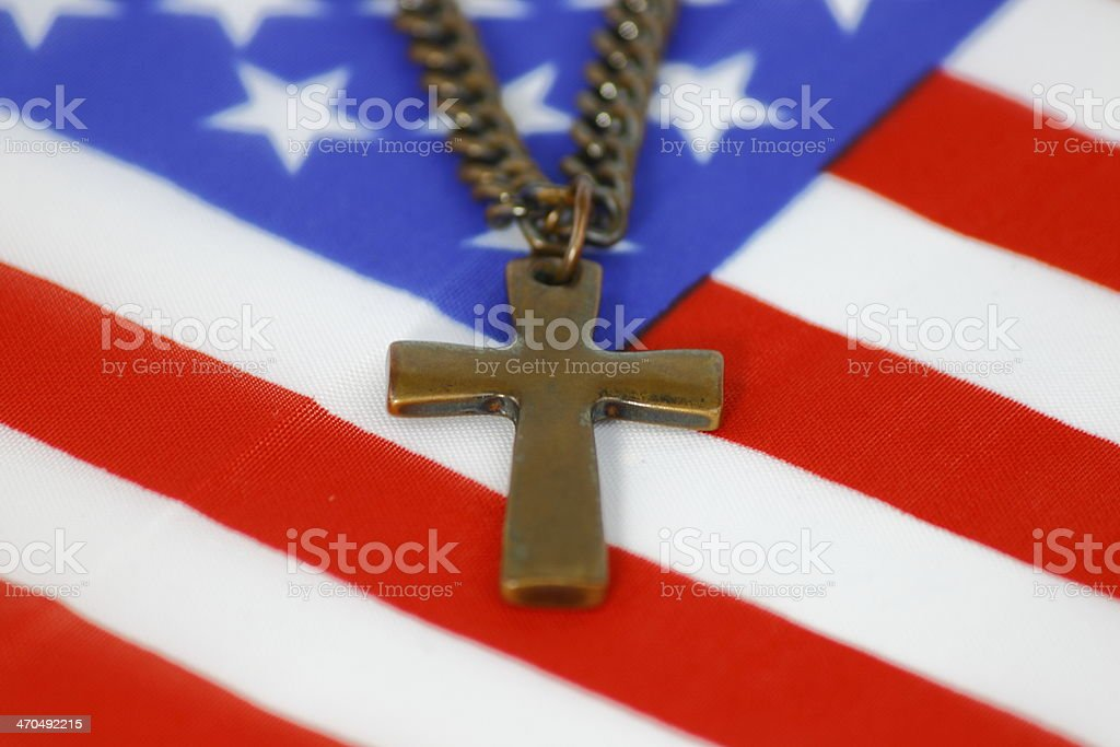 Cross on an American Flag royalty-free stock photo