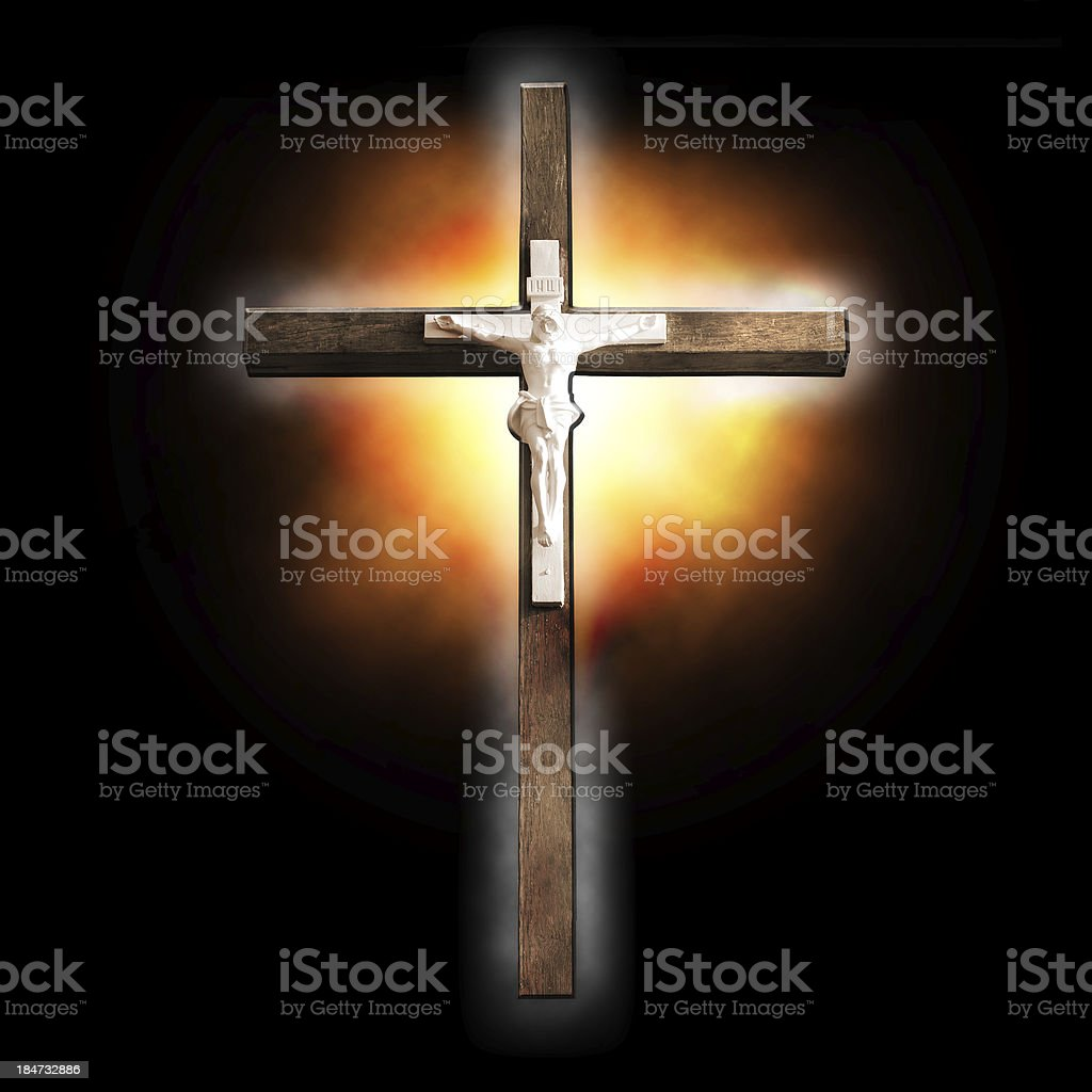 Cross on black background royalty-free stock photo