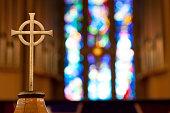 istock Cross on Church Alter 97468849