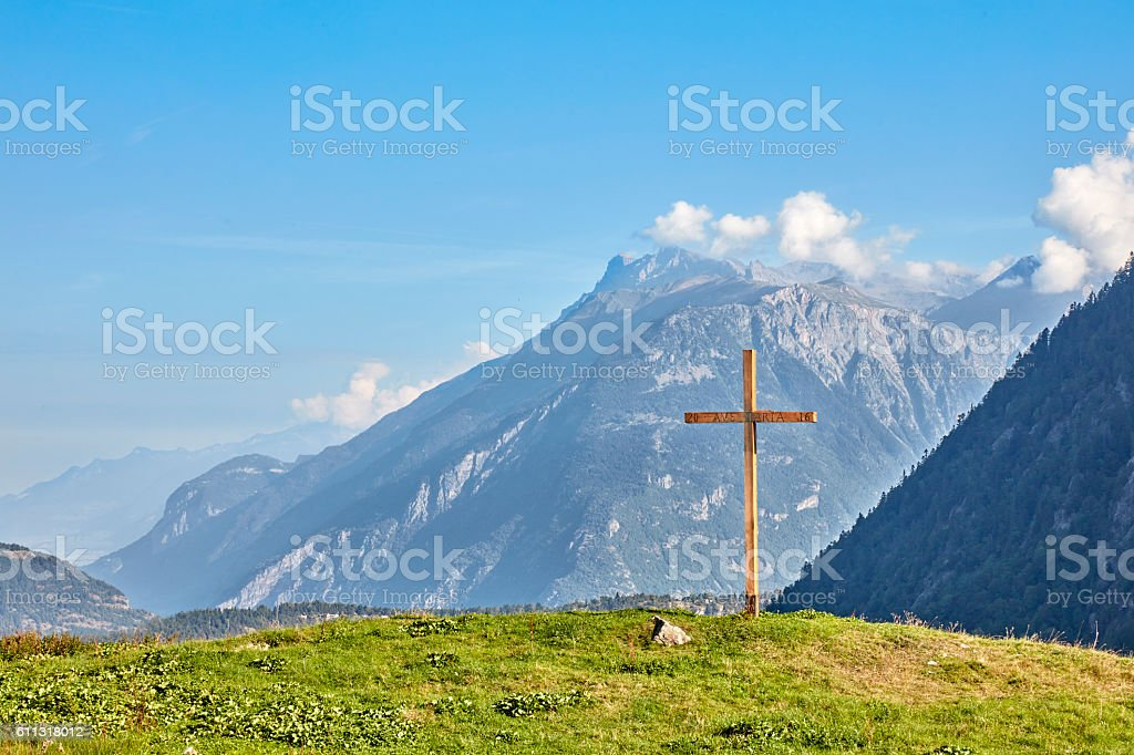 Cross on Hill in France stock photo