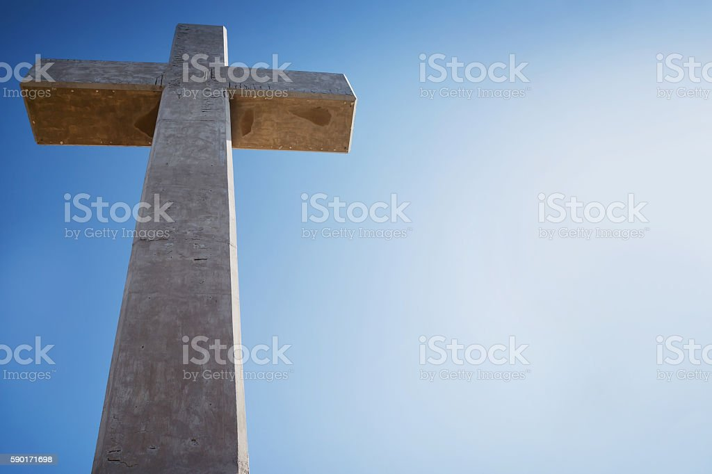 Cross on Mount Filerimos, Greece, Rhodes stock photo