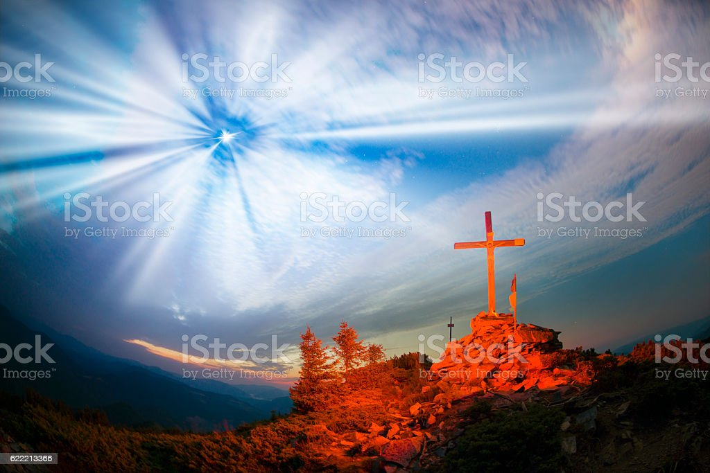 Cross on Mount Strymba stock photo