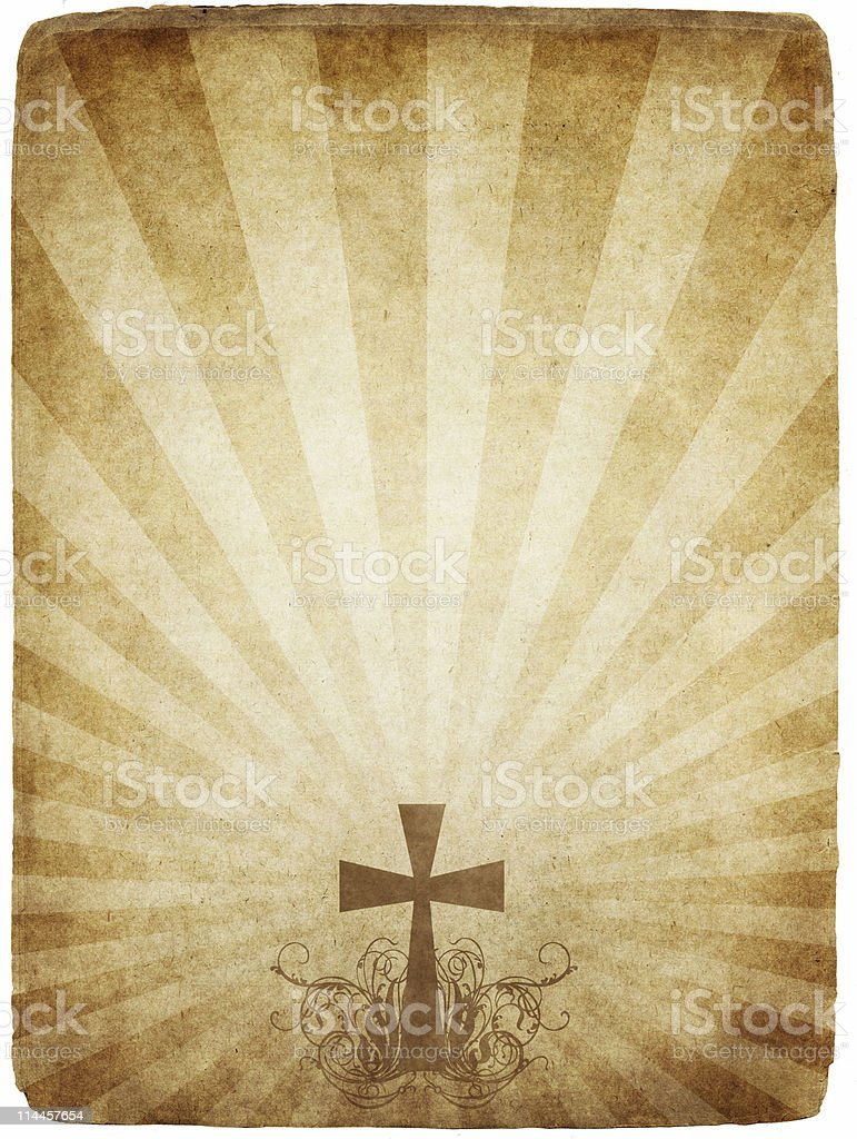 cross on old parchment royalty-free stock photo