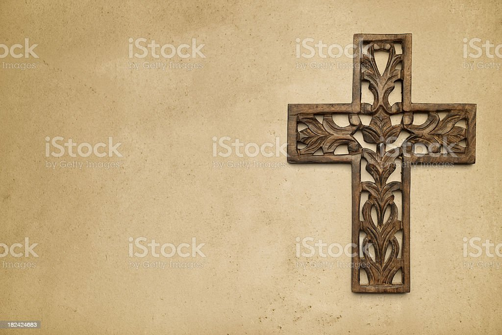 Cross on Rustic Wall royalty-free stock photo