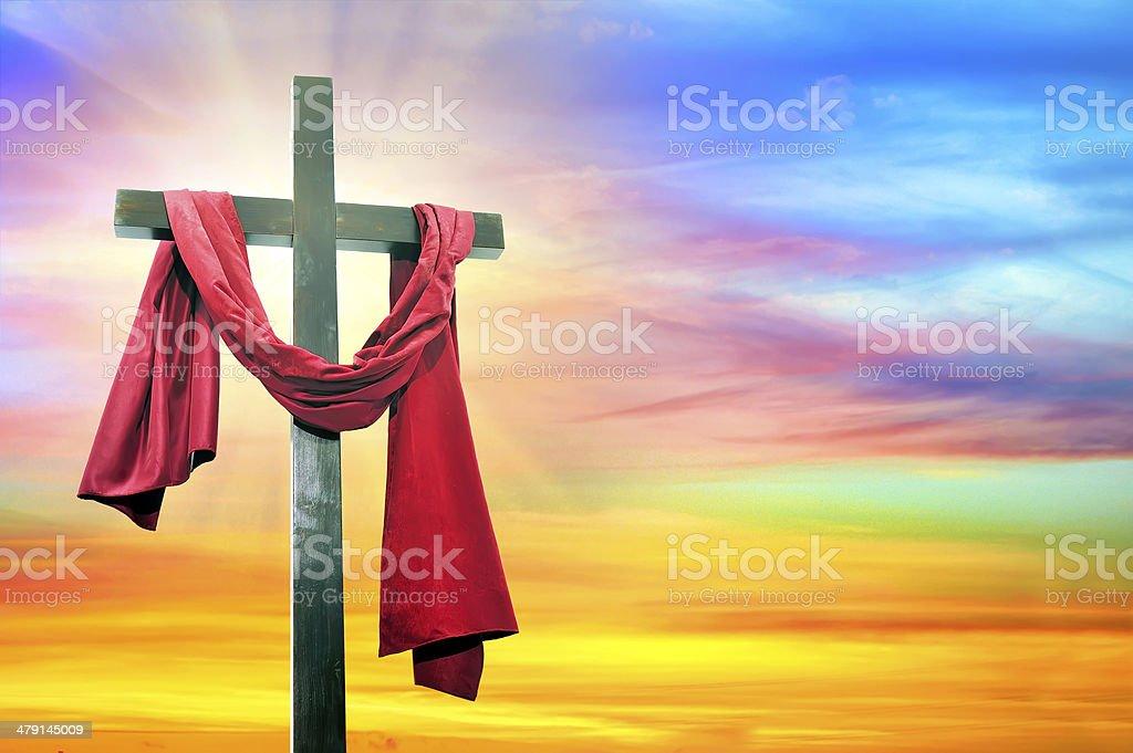 cross on sky background stock photo