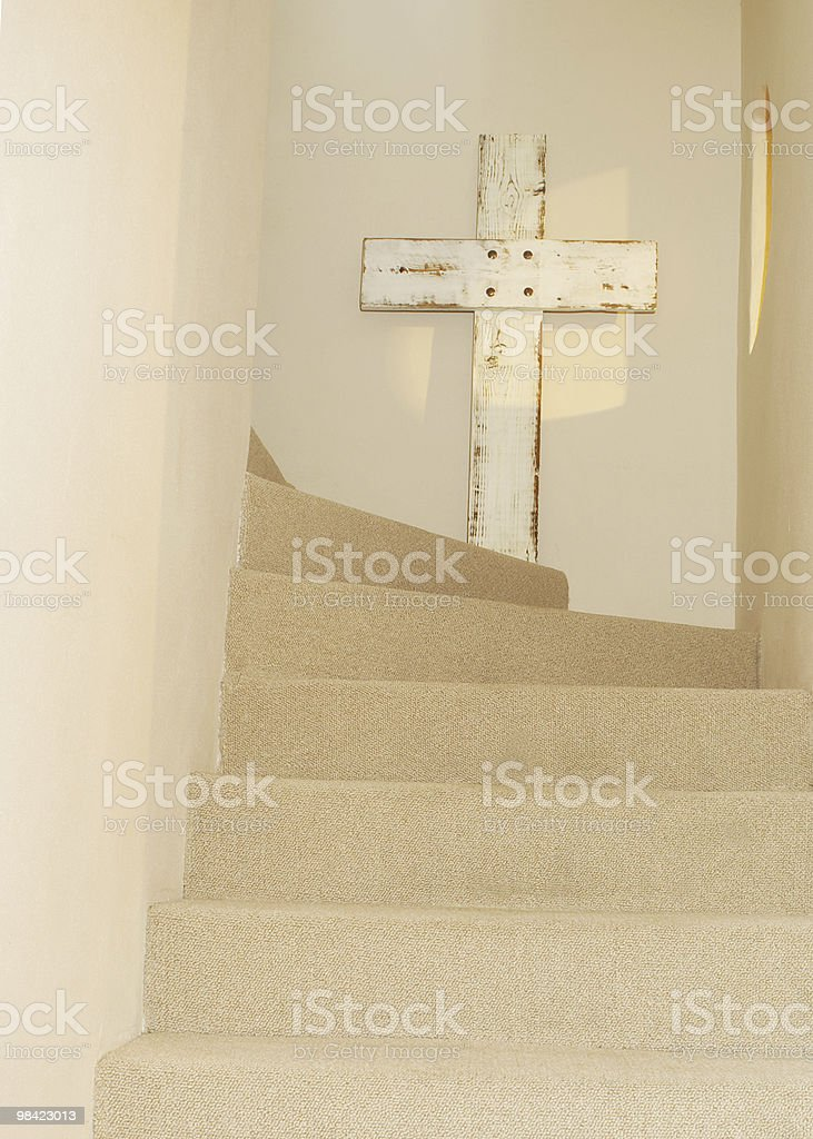 Cross on Stairway royalty-free stock photo