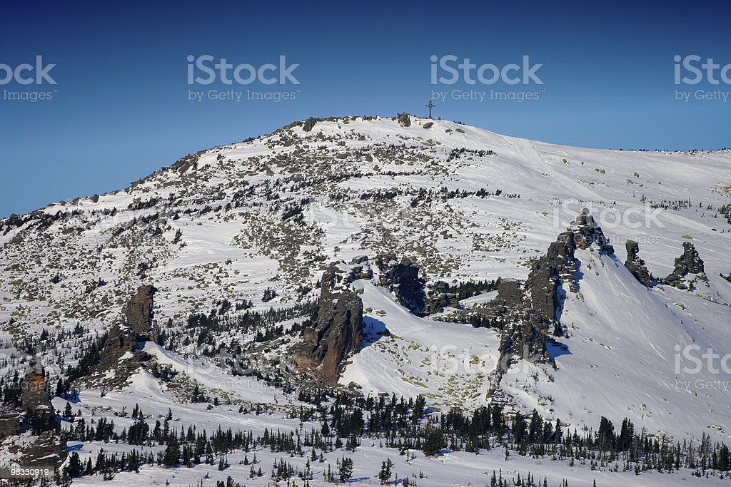 Cross on the mountain royalty-free stock photo
