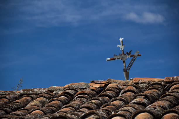 Cross on the roof stock photo