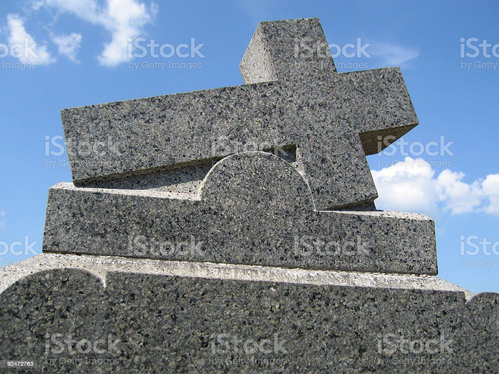 Cross on Tombstone royalty-free stock photo