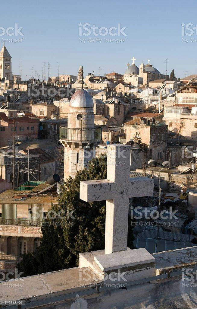 Cross over Jerusalem royalty-free stock photo