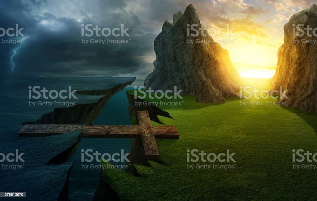Cross over the chasm stock photo