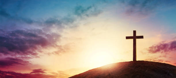 cross Silhouette cross on Calvary mountain sunset background. Easter concept religion stock pictures, royalty-free photos & images