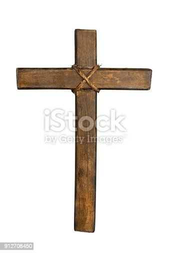 Holy wooden cross isolated on white background