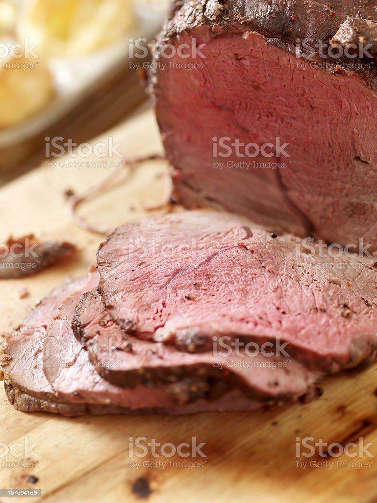 Cross Rib Beef Roast with Yorkshire Puddings stock photo