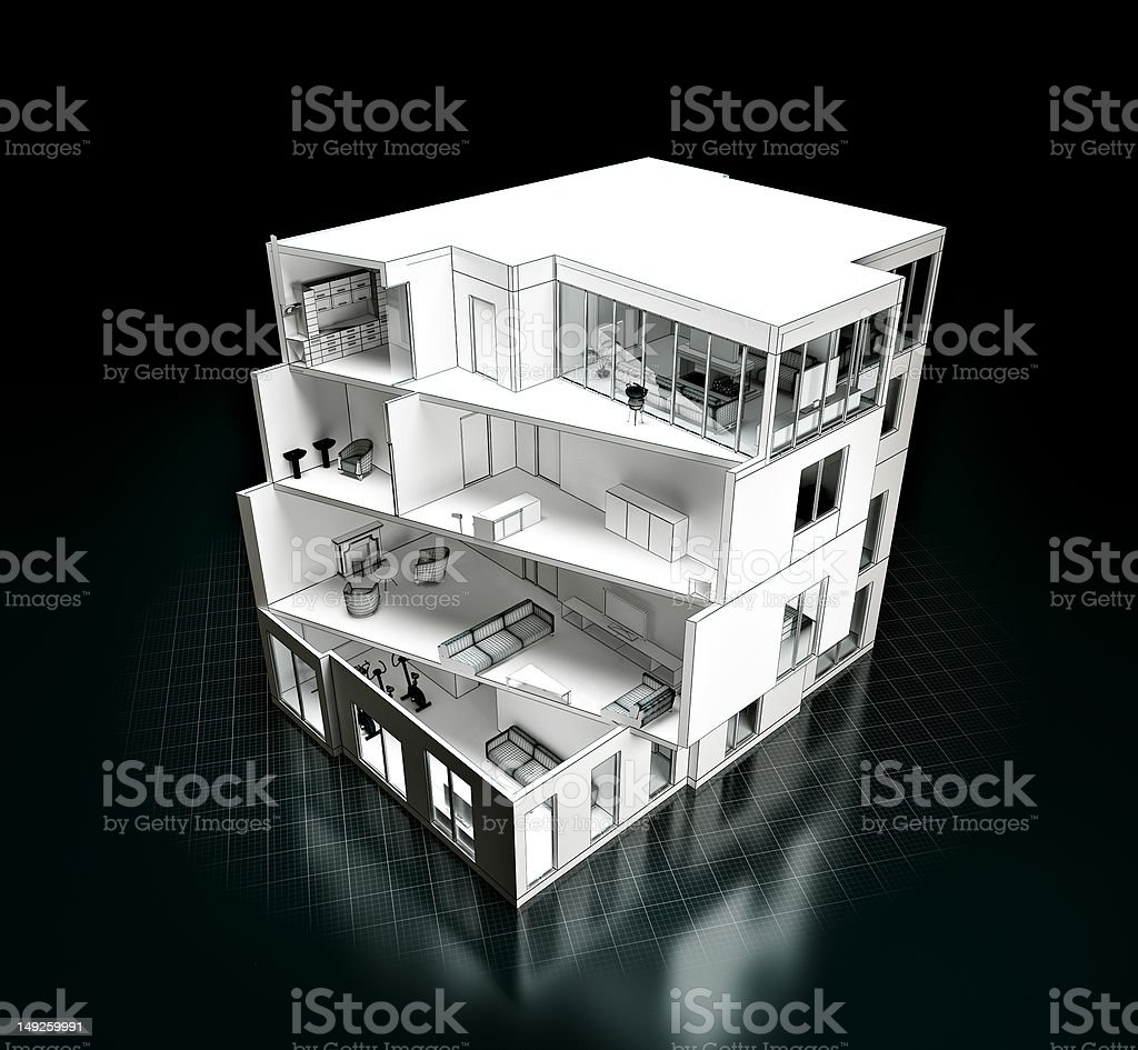 Cross section of a house project with several floors royalty-free stock photo