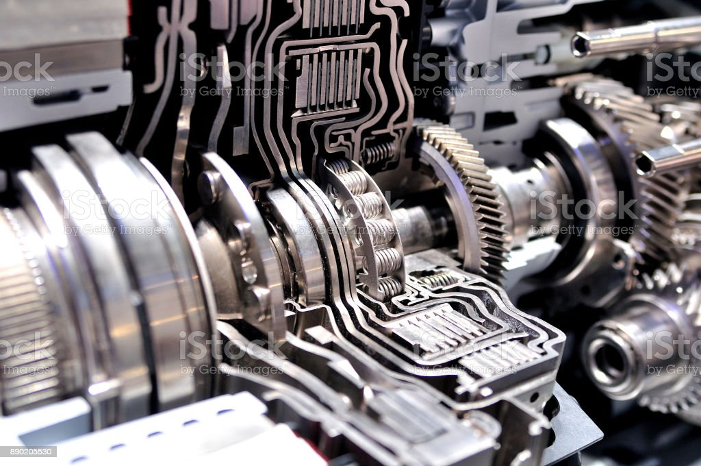 Cross section of a hybrid car automatic transmission. stock photo