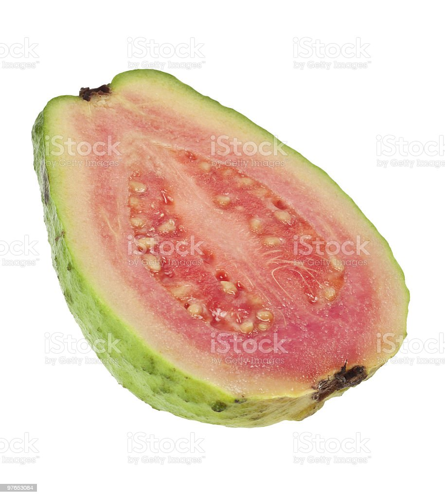 Cross section of a pink guava stock photo
