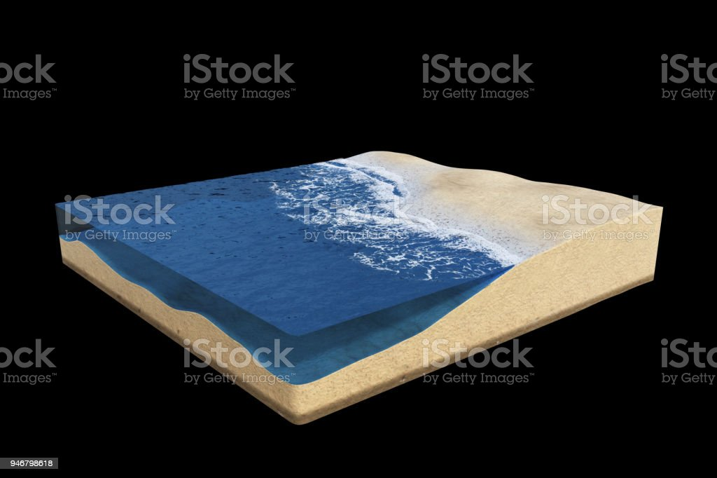 cross section of a strand area with ocean water, beach cube concept with sea and sand (3d illustration, isolated on black background) stock photo
