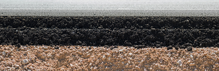 Cross section of modern asphalt on dirt.The layers are seen in profile.The bottom layer is dirt with stones white upper layer is asphalt.Shot in outdoor with medium format camera Hasselblad.