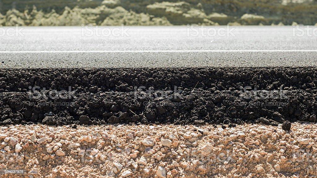 Cross Section Of Asphalt Road stock photo