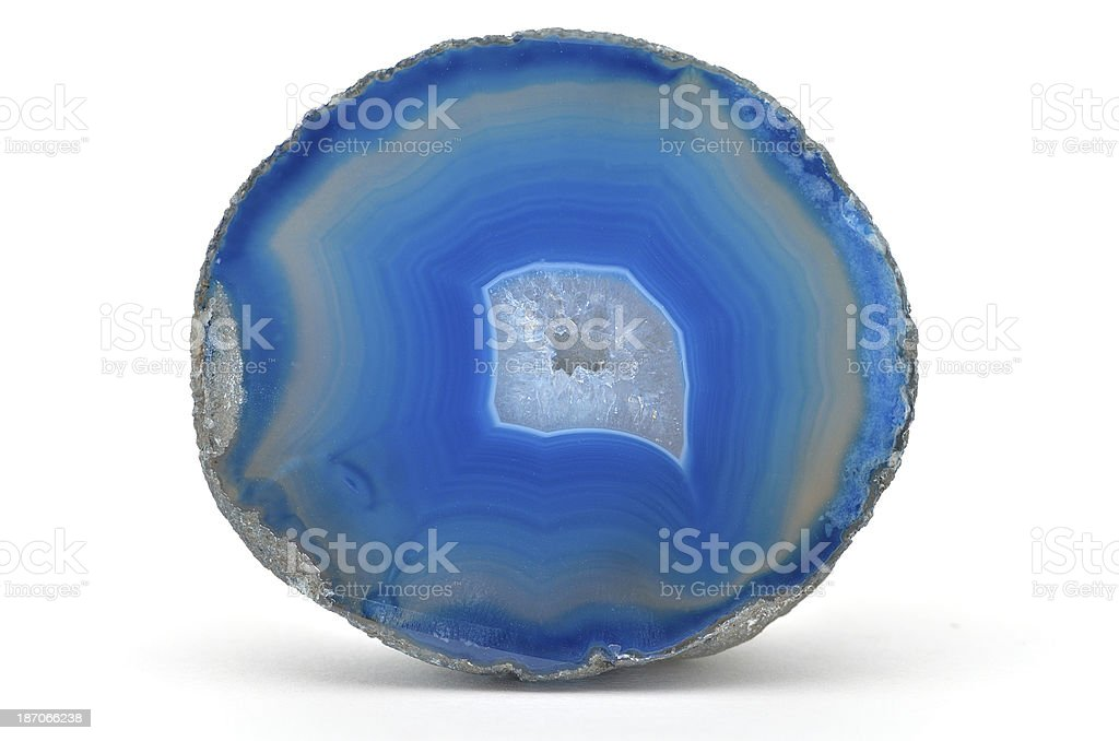 Cross section of blue banded agate geode royalty-free stock photo